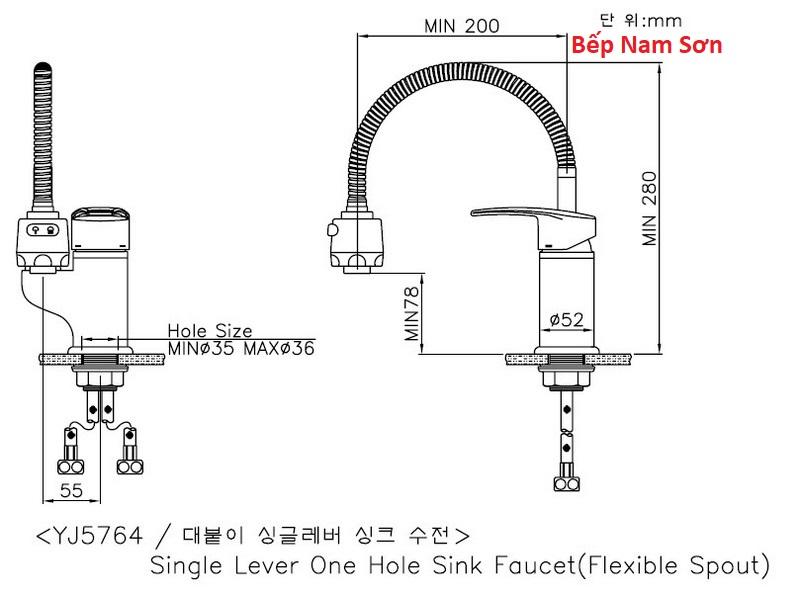 VÒI BẾP NÓNG LẠNH KOREA YJ-5764