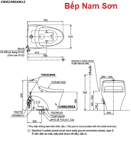 Bồn cầu một khối kèm nắp rửa điện tử WASHLET CW823REAW12
