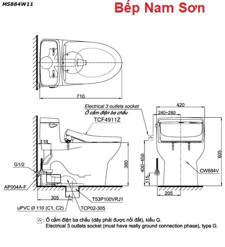 Bồn cầu một khối kèm nắp rửa điện tử WASHLET MS884W11