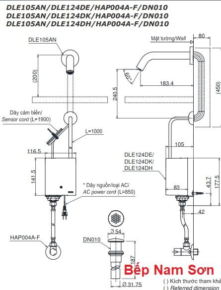 Vòi cảm ứng gắn tường nước lạnh DLE105AN/DLE124DH/DN010