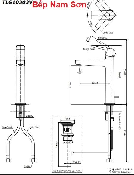 Vòi gật gù nóng lạnh GB TLG10303V