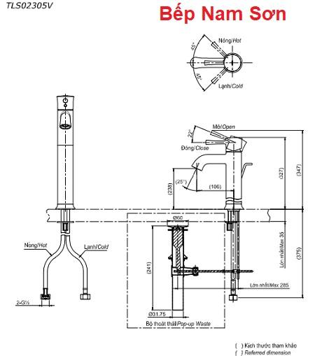 Vòi gật gù nóng lạnh LN TLS02305V