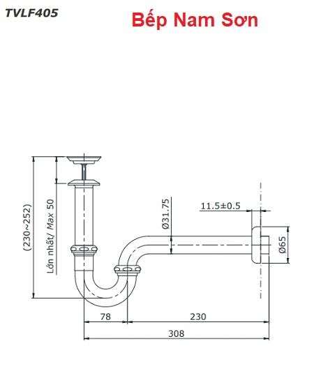 Cổ thoát vòi nước kèm ống thải chữ P TVLF405