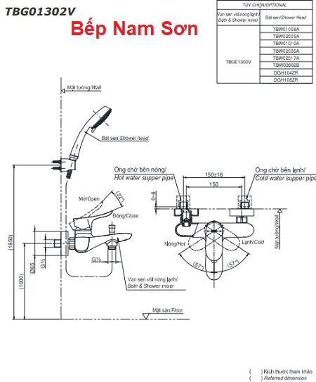 Bộ sen tắm nóng lạnh GO TBG01302V/DGH104ZR