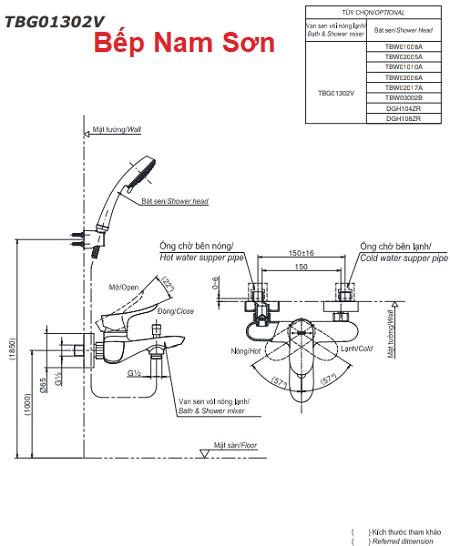 Bộ sen tắm nóng lạnh GO TBG01302V/TBW01008A
