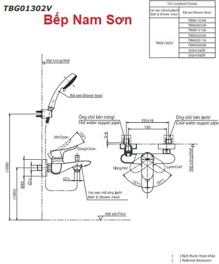 Bộ sen tắm nóng lạnh GO TBG01302V/TBW02006A