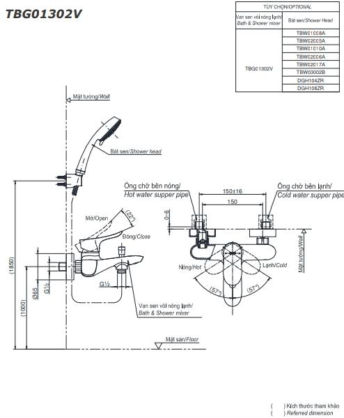 Bộ sen tắm nóng lạnh GO TBG01302V/TBW02017A