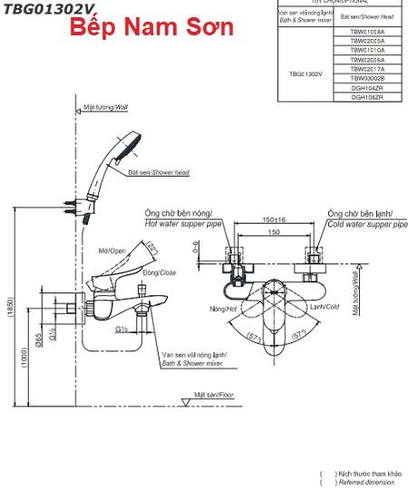 Bộ sen tắm nóng lạnh GO TBG01302V/TBW03002B