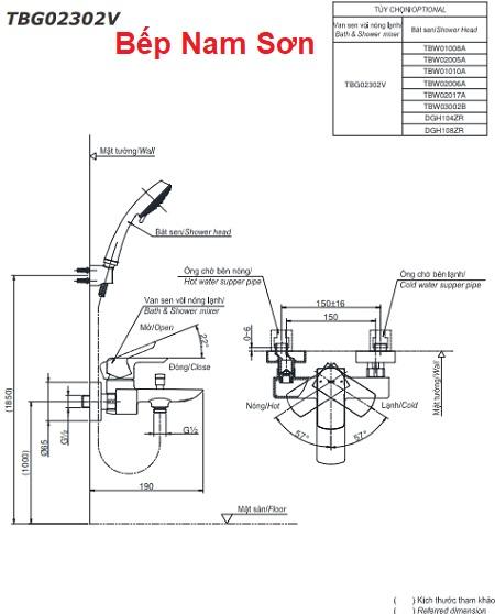 Bộ sen tắm nóng lạnh GR TBG02302V/DGH108ZR