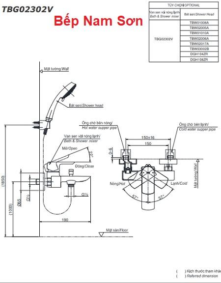 Bộ sen tắm nóng lạnh GR TBG02302V/TBW01008A