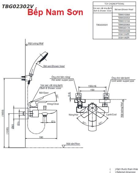 Bộ sen tắm nóng lạnh GR TBG02302V/TBW01010A