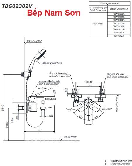 Bộ sen tắm nóng lạnh GR TBG02302V/TBW02005A