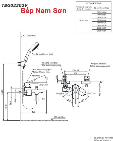 Bộ sen tắm nóng lạnh GR TBG02302V/TBW02017A