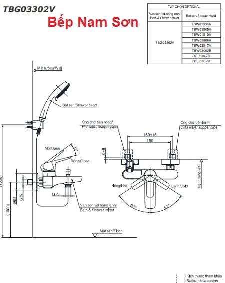 Bộ sen tắm nóng lạnh GS TBG03302V/TBW01008A