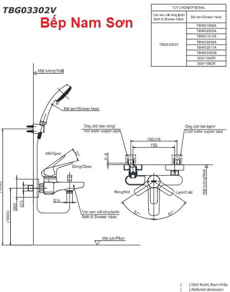Bộ sen tắm nóng lạnh GS TBG03302V/TBW01010A