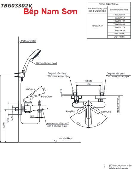 Bộ sen tắm nóng lạnh GS TBG03302V/TBW02005A