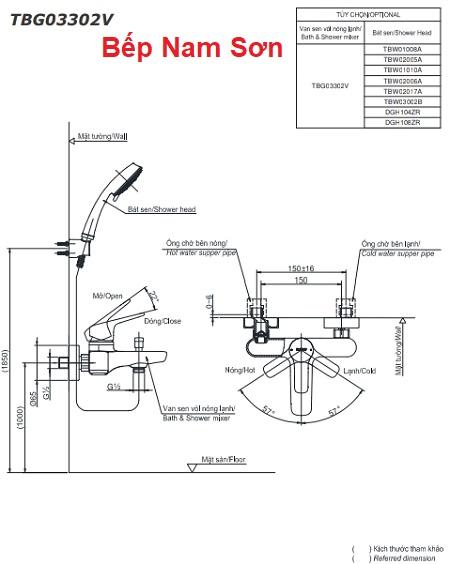 Bộ sen tắm nóng lạnh GS TBG03302V/TBW02006A