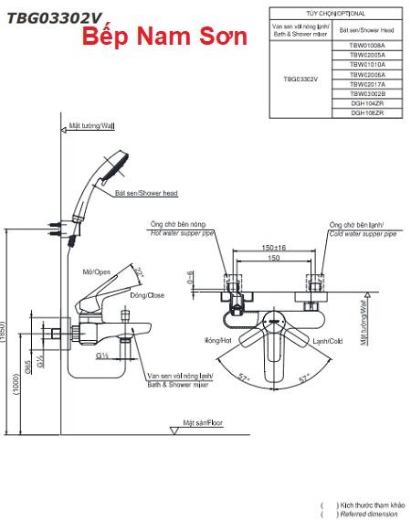 Bộ sen tắm nóng lạnh GS TBG03302V/TBW02017A