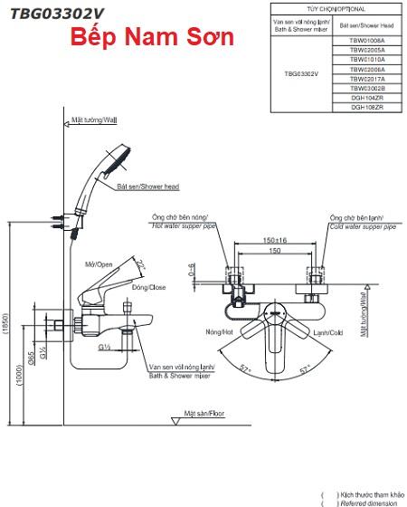 Bộ sen tắm nóng lạnh GS TBG03302V/TBW03002B