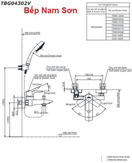 Bộ sen tắm nóng lạnh GA TBG04302V/TBW01010A