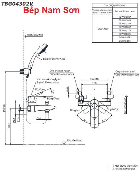 Bộ sen tắm nóng lạnh GA TBG04302V/TBW02005A