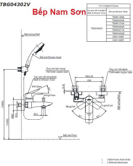 Bộ sen tắm nóng lạnh GA TBG04302V/TBW03002B