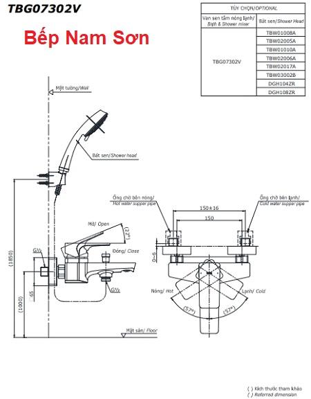 Bộ sen tắm nóng lạnh GE TBG07302V/TBW02017A
