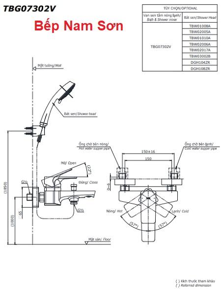 Bộ sen tắm nóng lạnh GE TBG07302V/DGH104ZR
