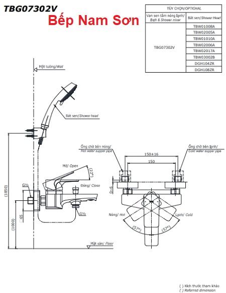 Bộ sen tắm nóng lạnh GE TBG07302V/TBW01010A