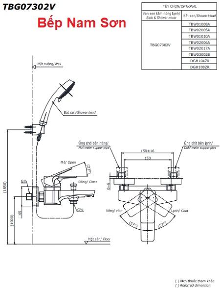 Bộ sen tắm nóng lạnh GE TBG07302V/TBW02006A