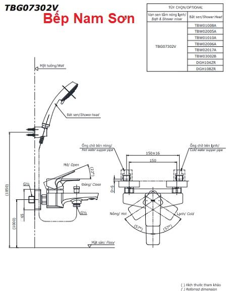 Bộ sen tắm nóng lạnh GE TBG07302V/TBW03002B