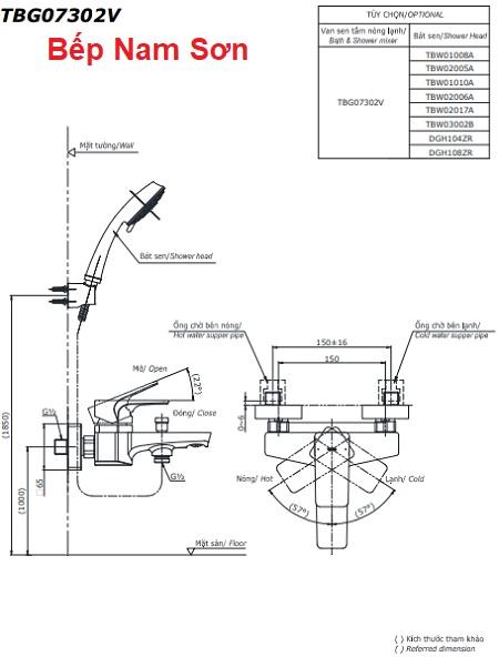 Bộ sen tắm nóng lạnh GC TBG08302V/TBW02006A