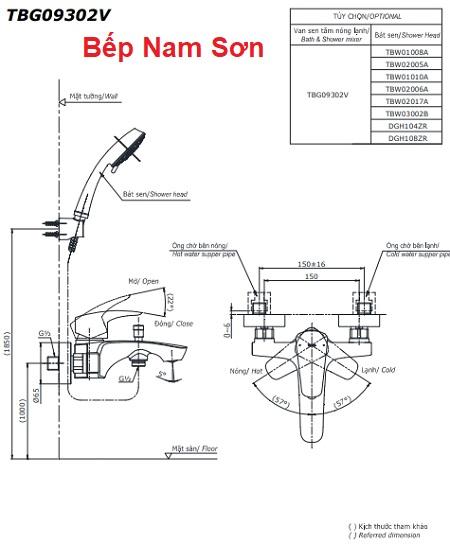 Bộ sen tắm nóng lạnh GM TBG09302V/TBW01010A