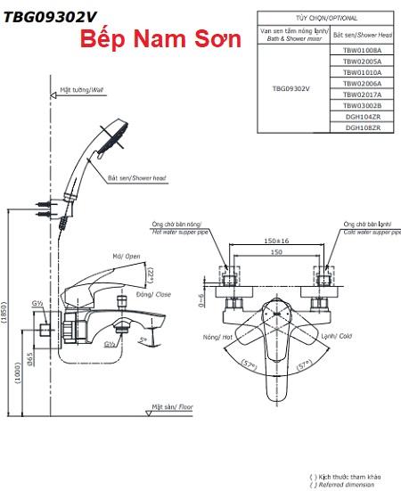 Bộ sen tắm nóng lạnh GM TBG09302V/TBW02005A