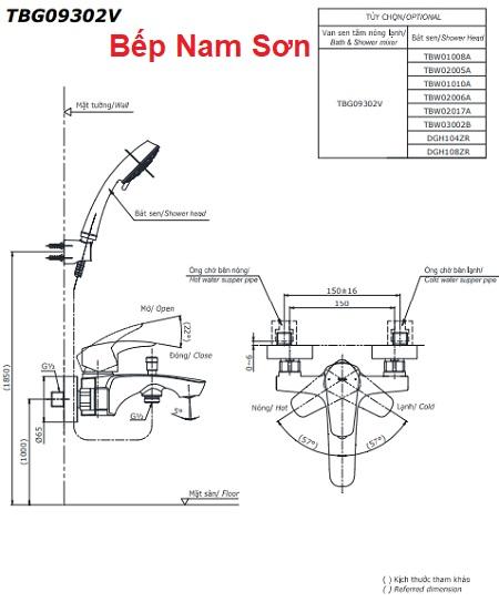 Bộ sen tắm nóng lạnh GM TBG09302V/TBW02017A