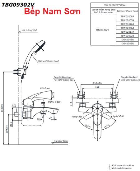 Bộ sen tắm nóng lạnh GM TBG09302V/TBW03002B