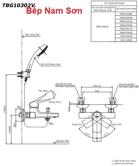 Bộ sen tắm nóng lạnh GB TBG10302V/DGH104ZR