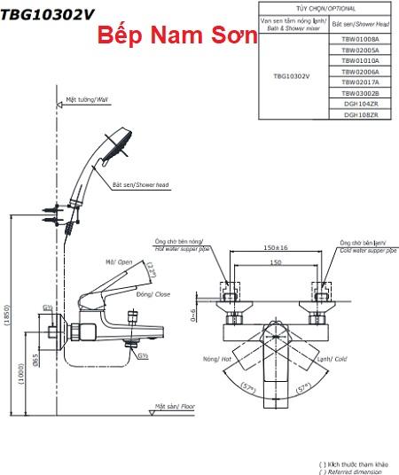 Bộ sen tắm nóng lạnh GB TBG10302V/TBW01008A