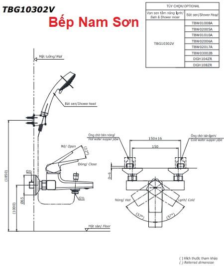 Bộ sen tắm nóng lạnh GB TBG10302V/TBW02005A