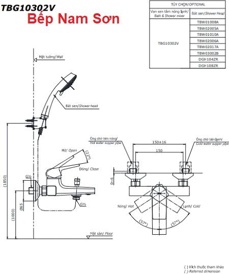 Bộ sen tắm nóng lạnh GB TBG10302V/TBW02017A
