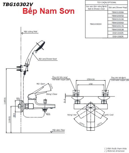 Bộ sen tắm nóng lạnh GB TBG10302V/TBW03002B