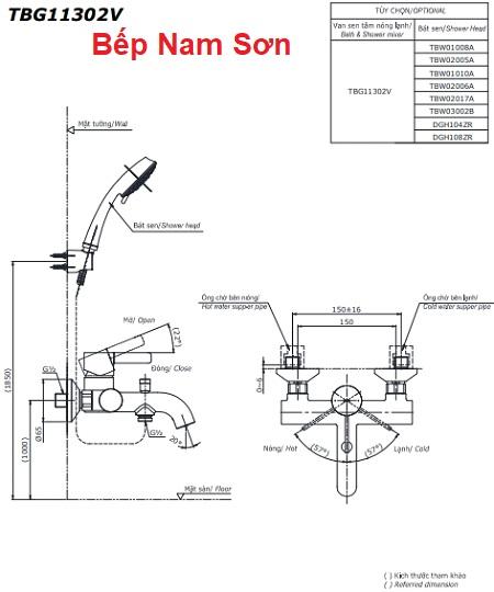Bộ sen tắm nóng lạnh GR TBG02302V/DGH104ZR