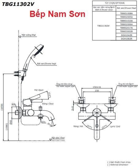 Bộ sen tắm nóng lạnh GF TBG11302V/TBW01010A