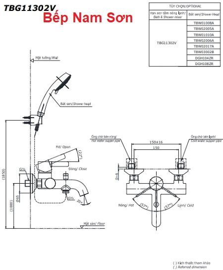 Bộ sen tắm nóng lạnh GF TBG11302V/TBW02017A