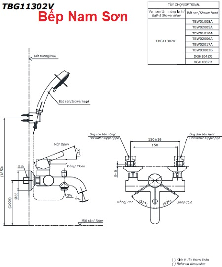 Bộ sen tắm nóng lạnh GF TBG11302V/TBW03002B