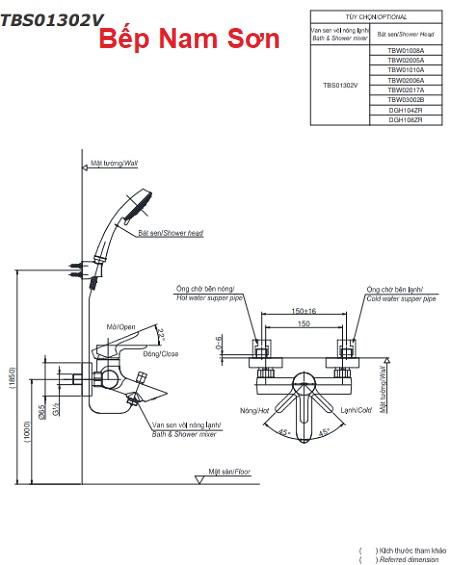 Bộ sen tắm nóng lạnh LB TBS01302V/DGH108ZR