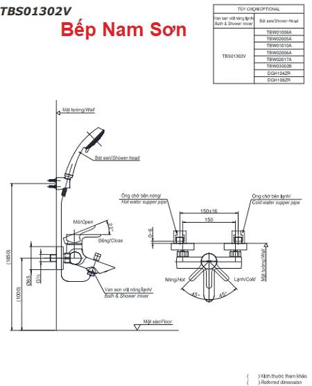 Bộ sen tắm nóng lạnh LB TBS01302V/TBW01008A