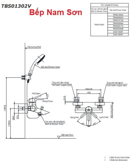 Bộ sen tắm nóng lạnh LB TBS01302V/TBW01010A