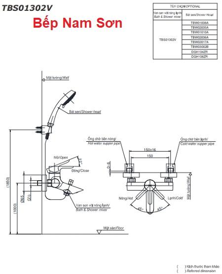 Bộ sen tắm nóng lạnh LB TBS01302V/TBW02005A