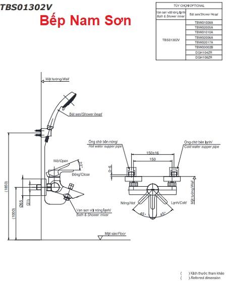 Bộ sen tắm nóng lạnh LB TBS01302V/TBW02006A